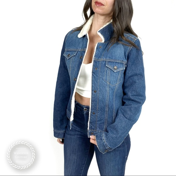 ABERCROMBIE & FITCH Faux Sherpa Lined Denim Jacket